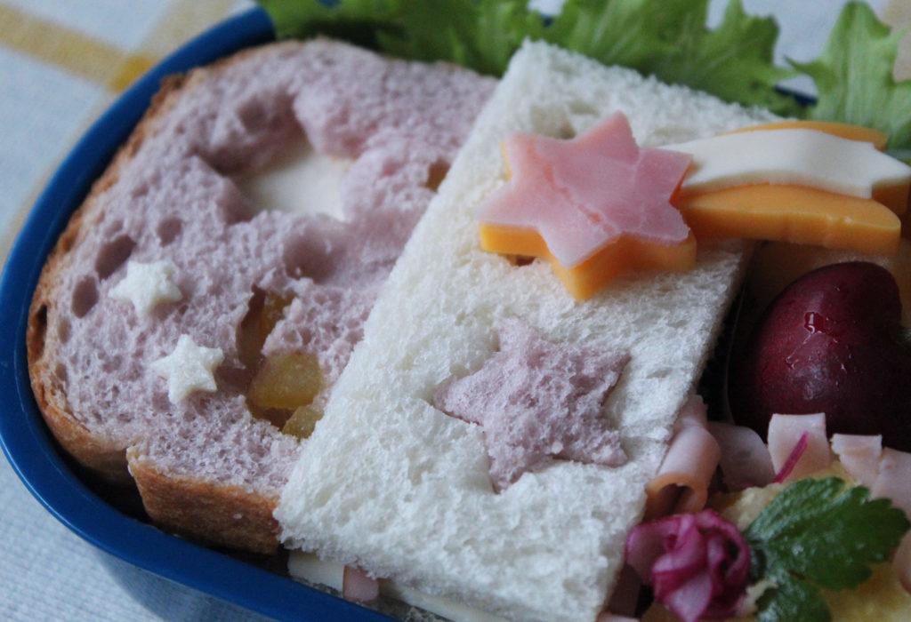 七夕弁当-切り抜きサンドウィッチ