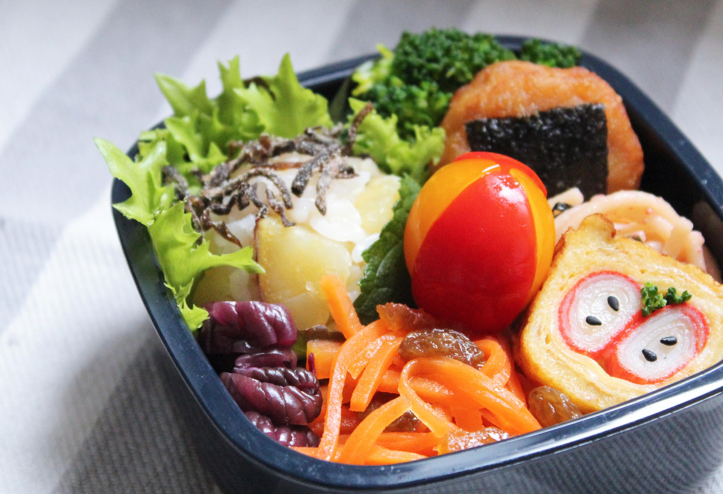 さつま芋ごはんのおこさま弁当 - お弁当の詰め方と盛り付けのコツ - 幼稚園年少さん