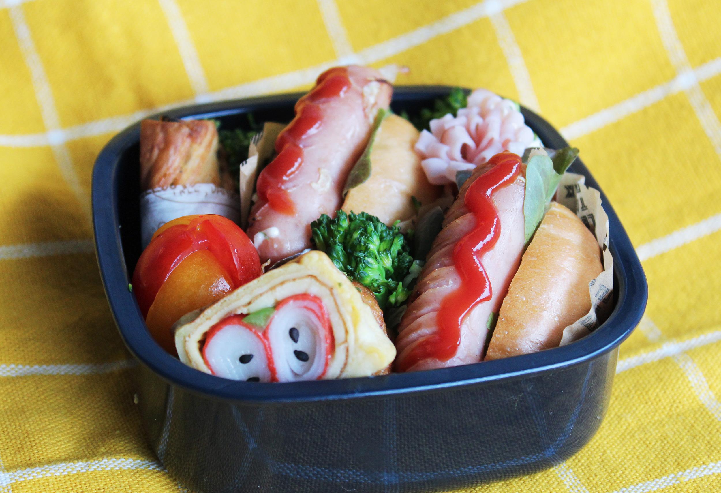 ホットドッグのおこさま弁当 - お弁当の詰め方と盛り付けのコツ - 幼稚園年少さん
