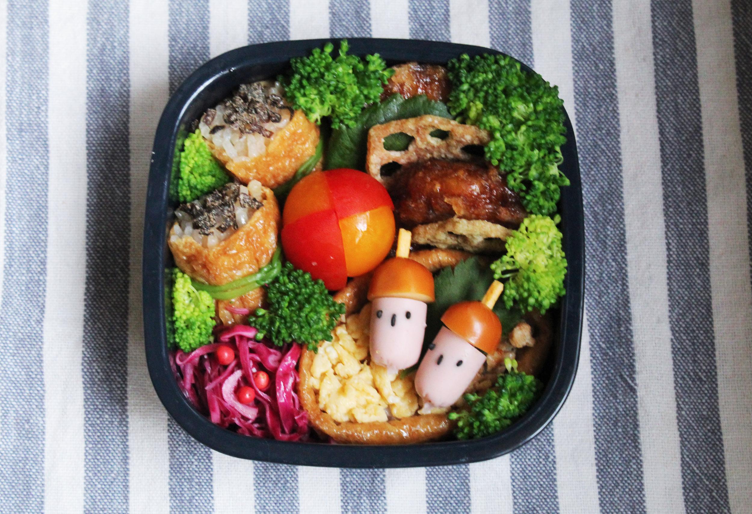 ひとくちおいなりさん-食べられるどんぐりのおこさま弁当 - お弁当の詰め方と盛り付けのコツ - 幼稚園年少さん